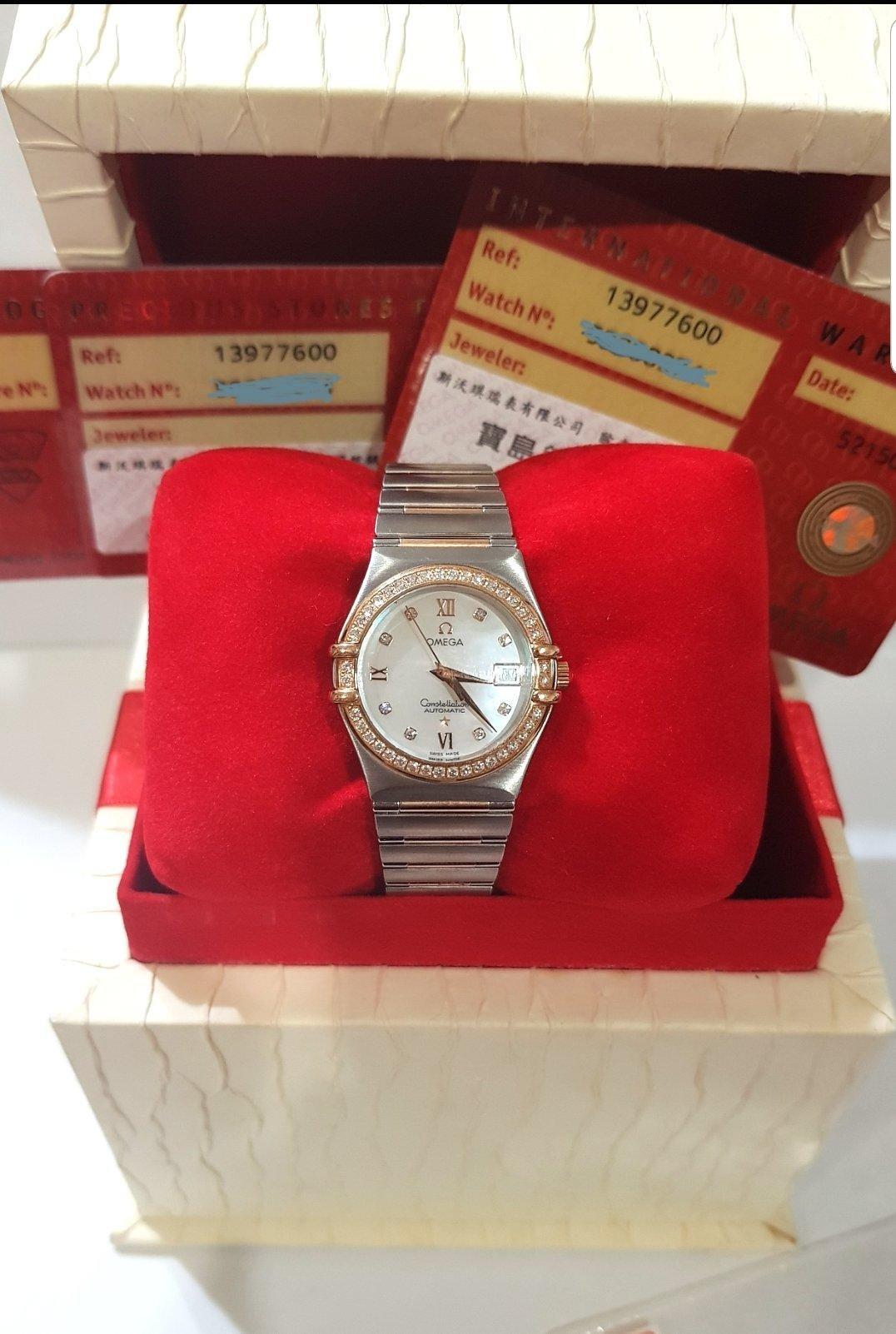 鴻圖當舖 Omega 歐米茄 Constellation 星座 18K玫瑰金原裝鑽圈原裝貝殼鑽面 女庄鑽錶