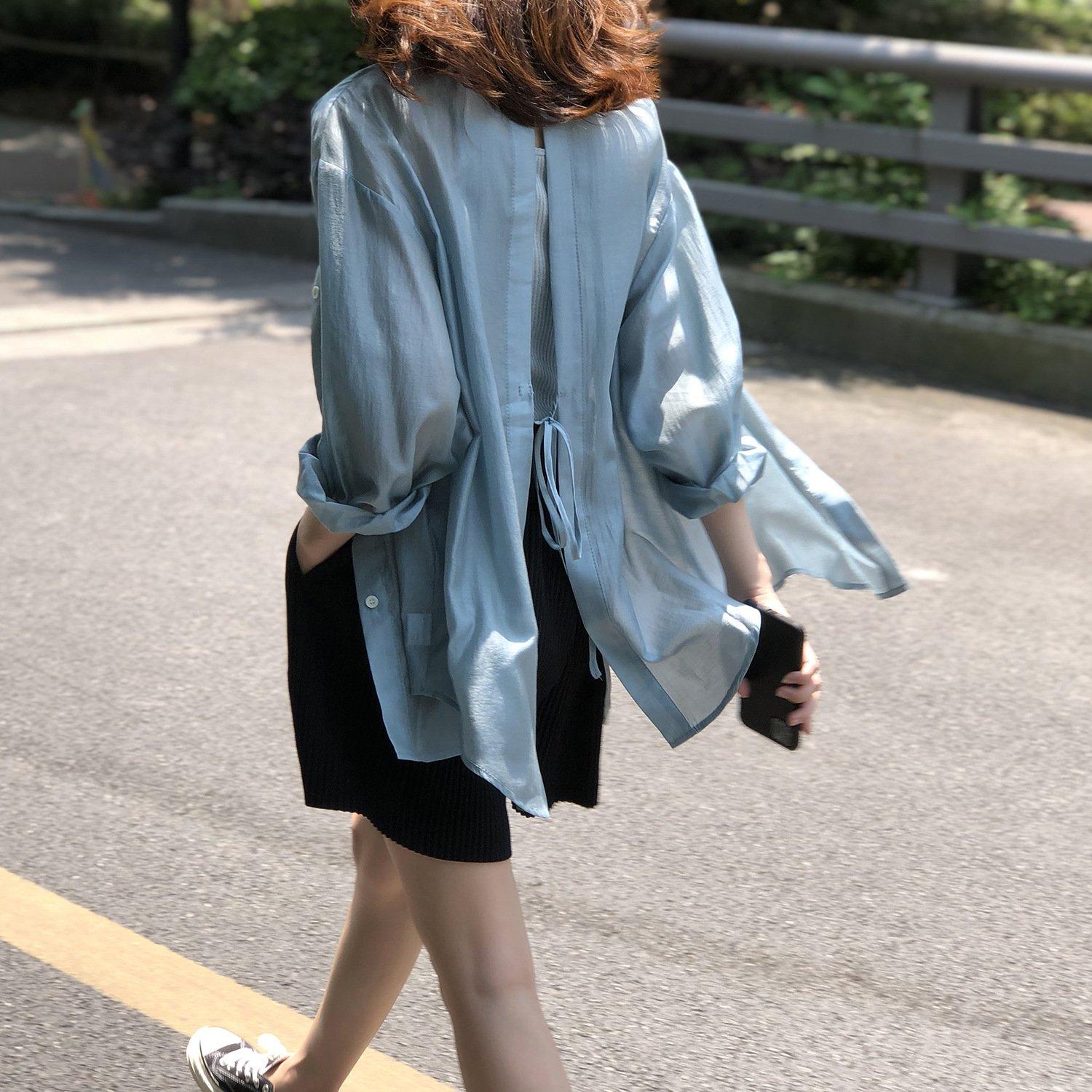開叉襯衫 DANDT 浪漫天絲心機開叉夏日防曬襯衫(21 APR)同風格請在賣場搜尋 SHA 或 歐美服飾