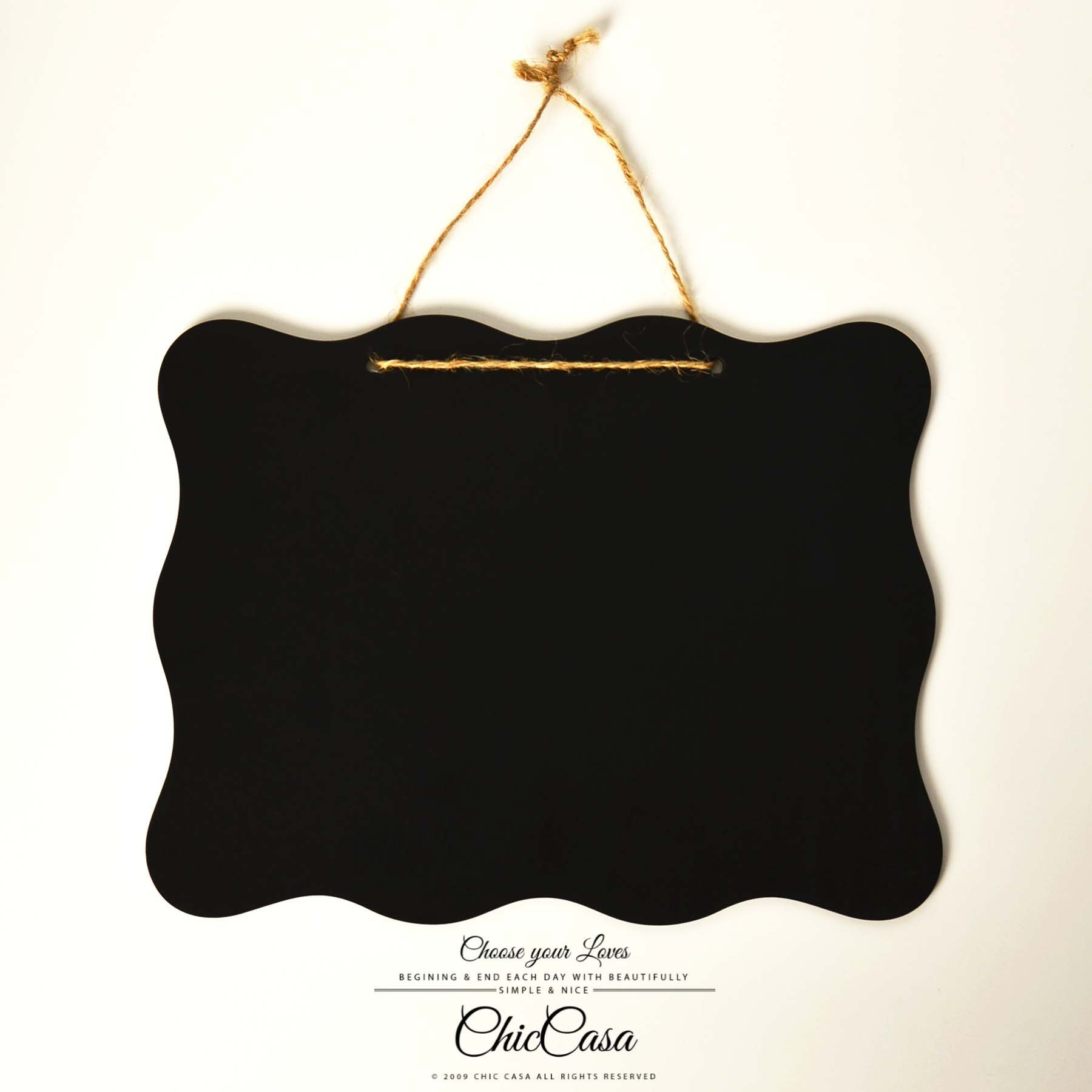 波浪麻繩雙面黑板掛牌 25.5x20cm 留言板門牌 掛飾【Chic Casa 奇可家居】100701002-01