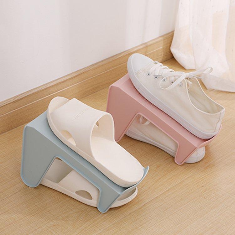 收納家居!!!簡易鞋架子塑料雙層立體鞋子收納架鞋托家用節省空間鞋子整理架