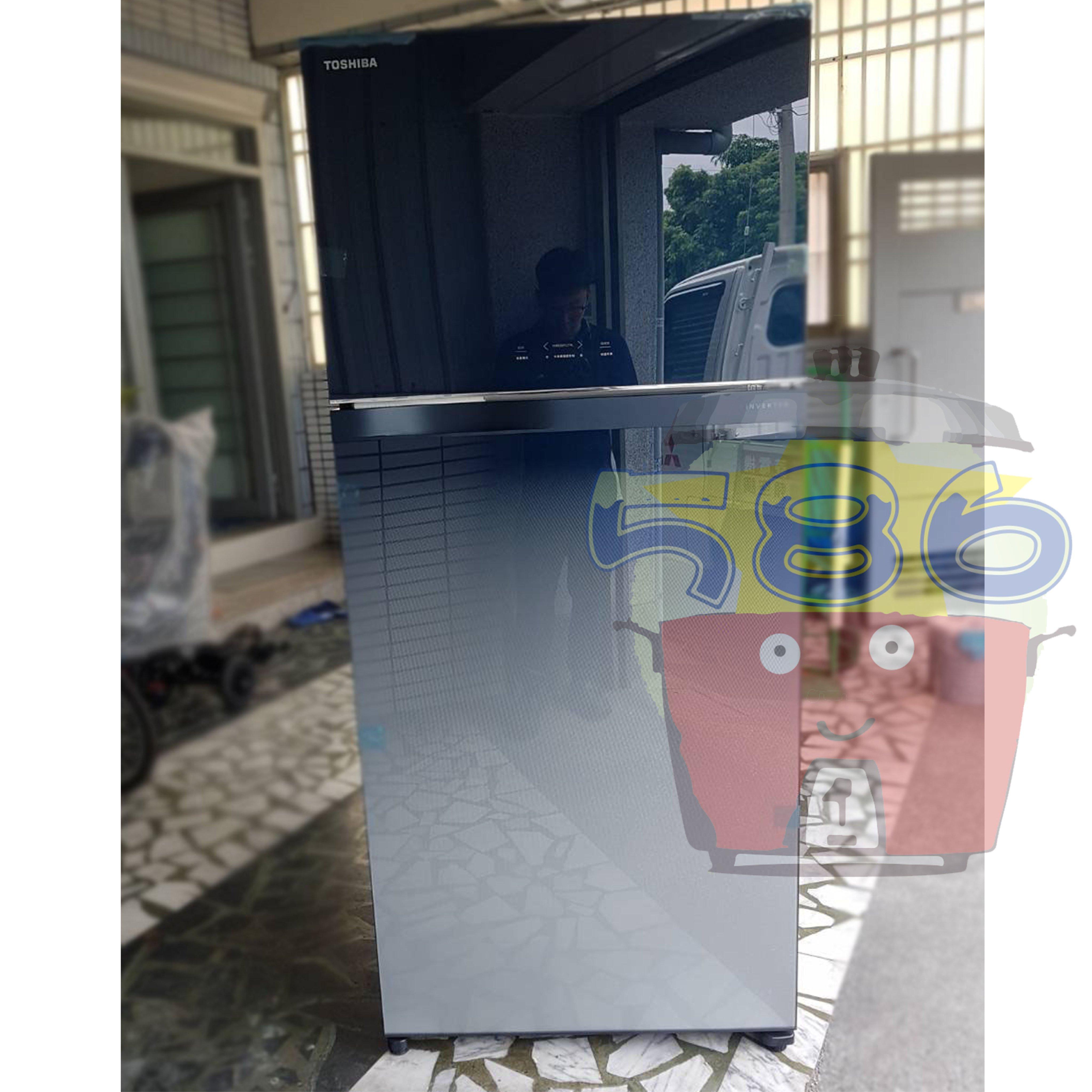 能源效率第一級《台南586家電館》TOSHIBA東芝雙門變頻玻璃鏡面冰箱608L【 GR-AG66T(GG)】