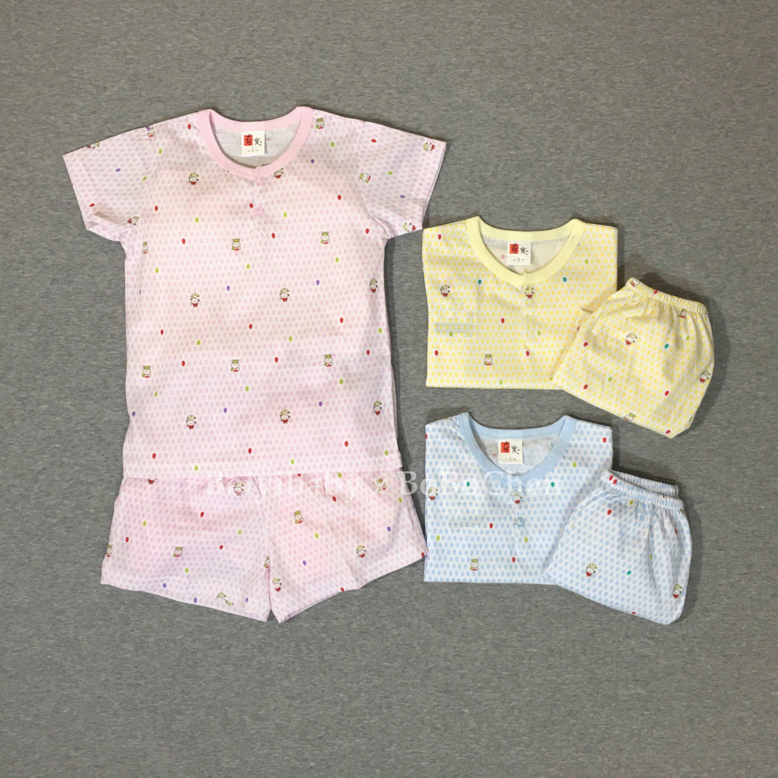 奇寶 17011雨滴熊短袖半開套裝 居家服 短套裝- 布料