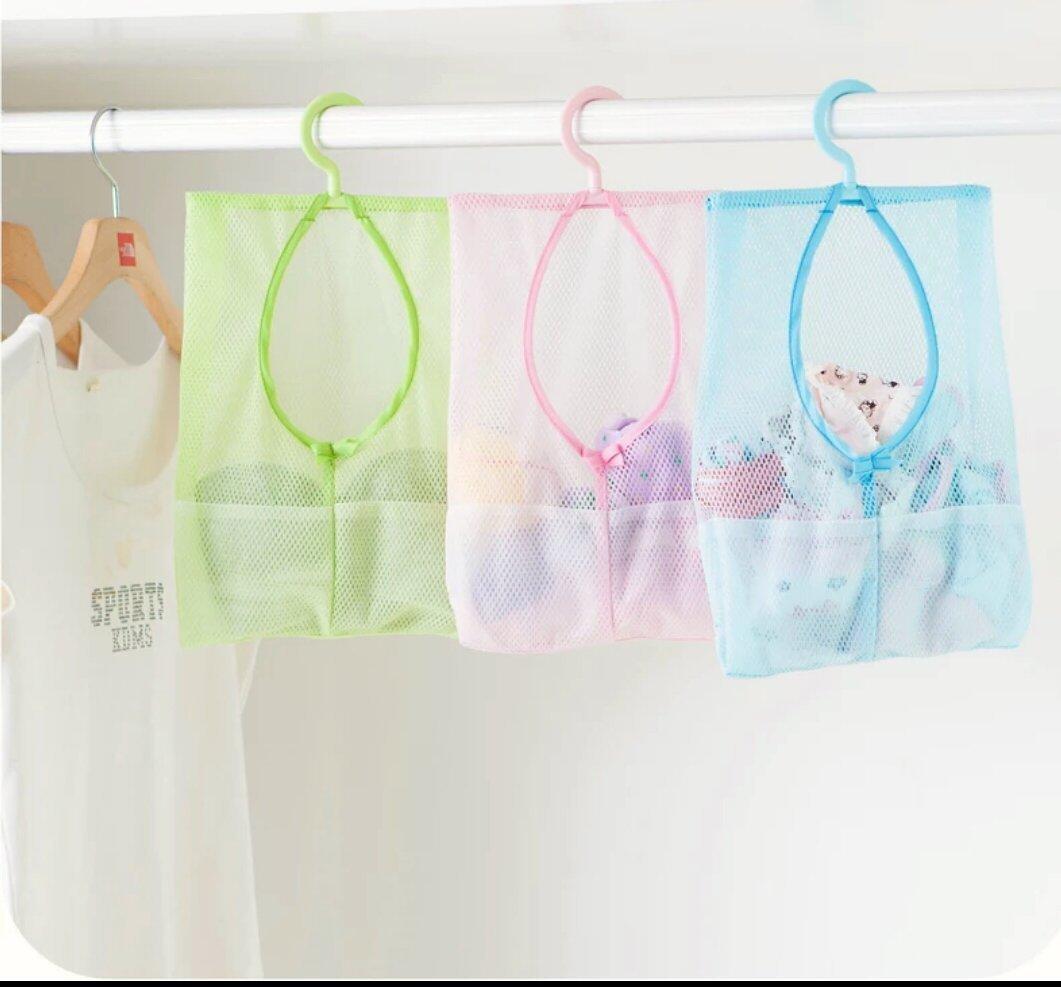 (3個 組) 炫彩可掛式收纳網袋 多用途晒衣夾子網袋 厨房浴室多用掛袋 兒童洗澡玩具浴室收納網防潮 廚房掛網