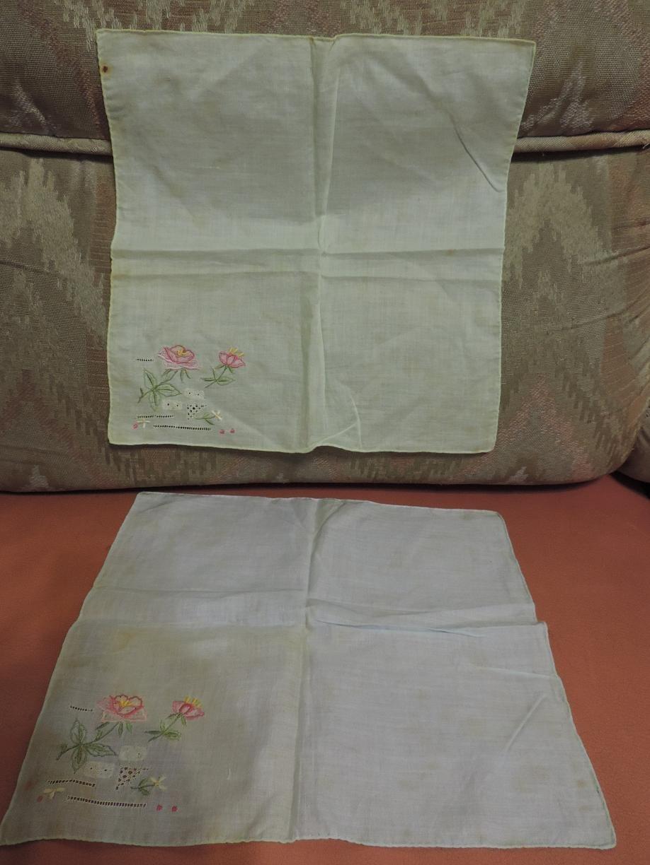手帕 小方巾 西裝口袋裝飾品 純棉 麻紗 棉紗 電繡鏤空 輕柔透風細緻優雅 吸汗隔離防曬品 玫瑰花朵圖騰  共2條
