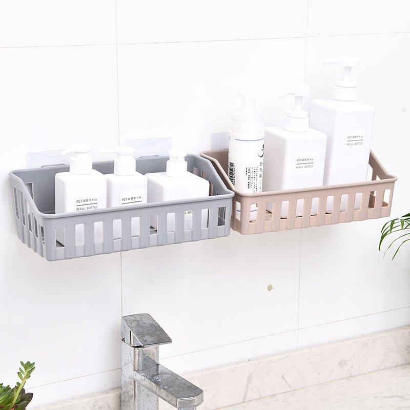 廚房 收納免打孔浴室置物架衛生間用品廁所塑料壁掛架子廚房收納架洗漱架D