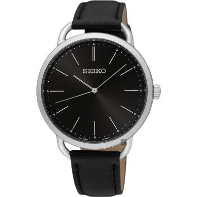 可議價.「1958 鐘錶城」SEIKO精工錶 時尚簡約 男薄型手錶(SUR233P1)-黑/38mm