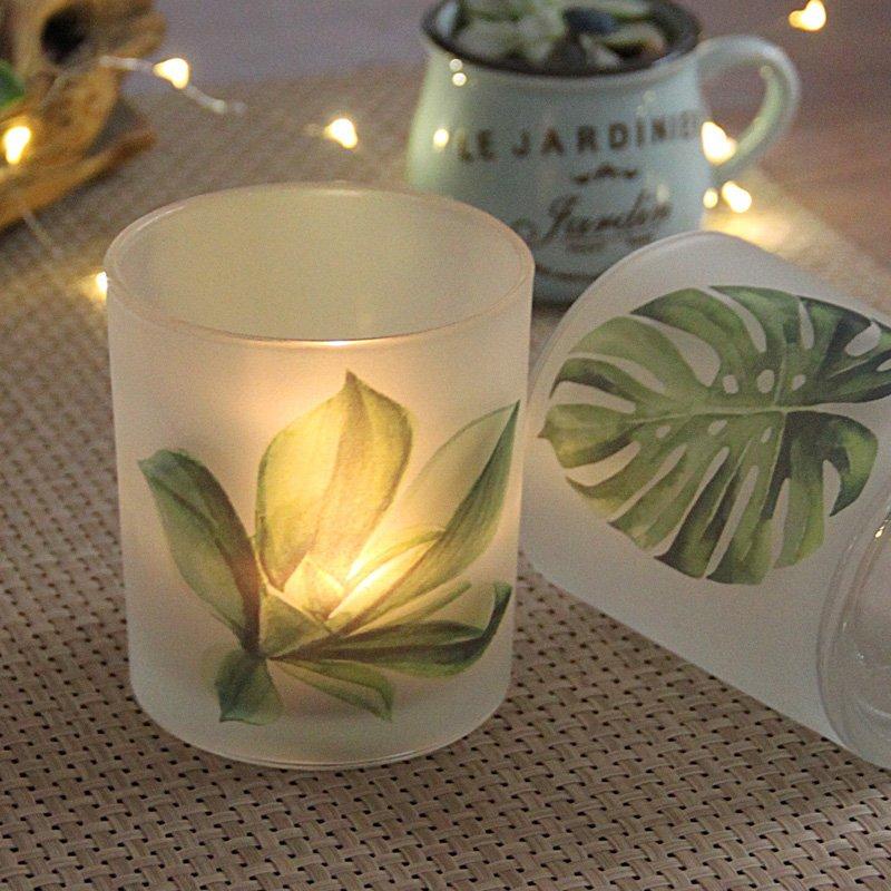 熱銷#北歐綠植印花玻璃燭臺DIY香薫蠟燭杯浪漫燭光晚餐筆筒裝飾INS擺件#燭臺#裝飾
