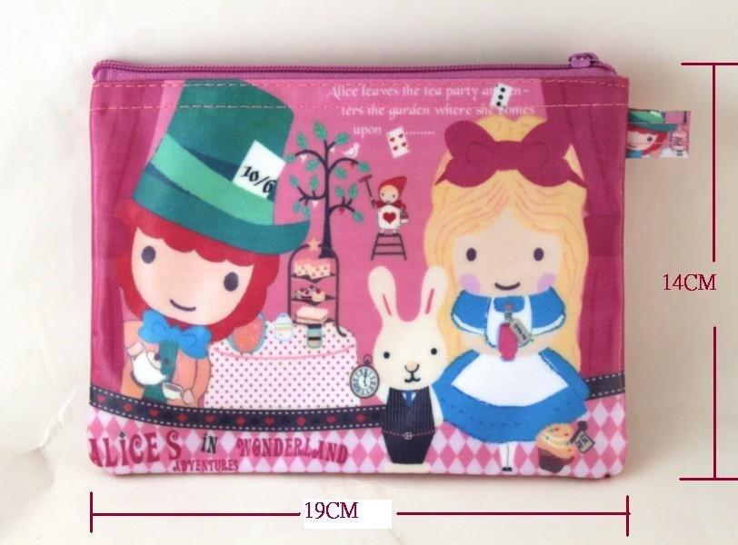 ♥Alice Family♥Taiwan手作防水扁平收納包 化妝包 筆袋-愛麗絲魔鏡夢遊款♥