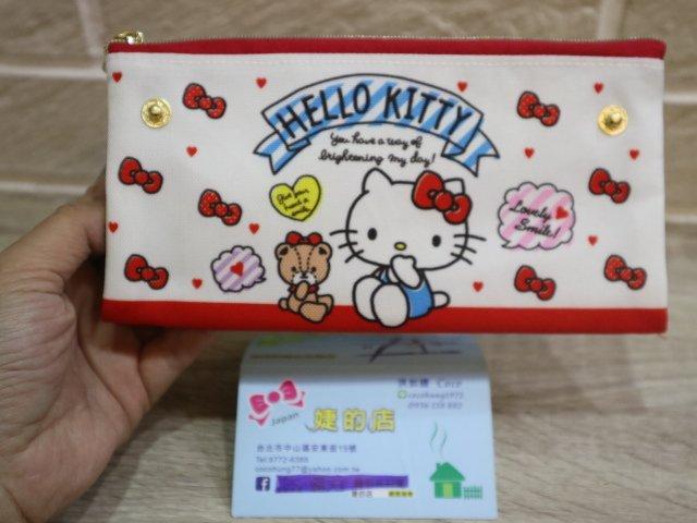 婕的店 ~ 帶回~Sanrio Kitty帆布雙層扁平拉鍊筆袋收納包.化妝包.鉛筆盒