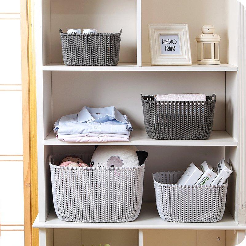 收納 仿藤編桌面收納籃塑料編織收納筐廚房零食收納盒浴室洗澡籃置物籃