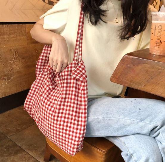 【 】文青 棉麻 帆布 格紋 格子 肩背包 手提包 黑色 紅色