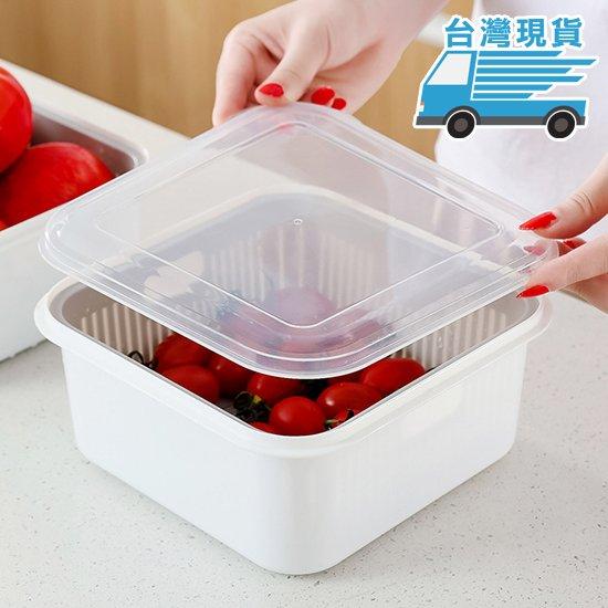 瀝水籃 收納籃 保鮮盒 收納盒 收納籃 食材保鮮盒 洗菜籃 洗蔬果 密封盒 瀝水保鮮盒【N112】☜shop go☞