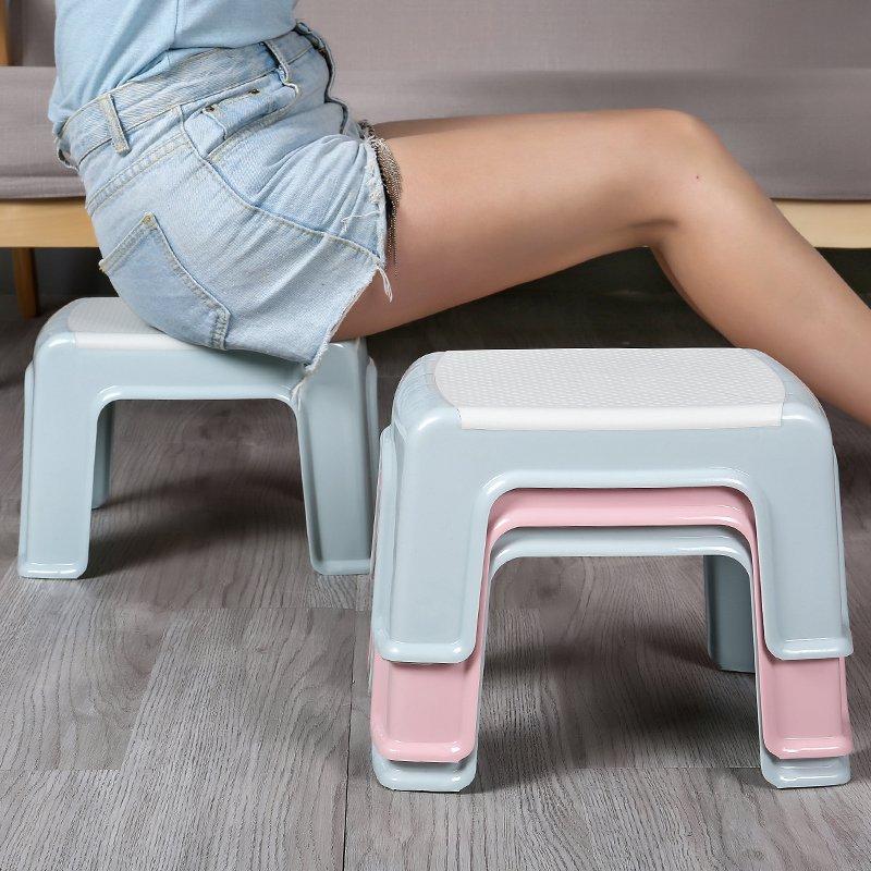 奇奇店-家用塑料小板凳客廳換鞋凳加厚防滑踩腳凳寶寶茶幾矮凳子浴室板凳(買多件有 )