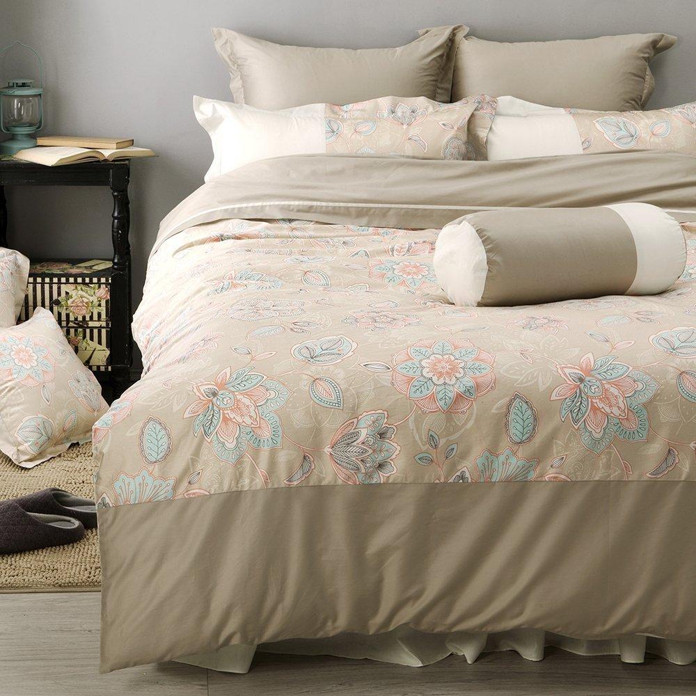 《60支紗》雙人床包/被套/枕套/4件式【米花】波隆那100%精梳棉-麗塔寢飾-