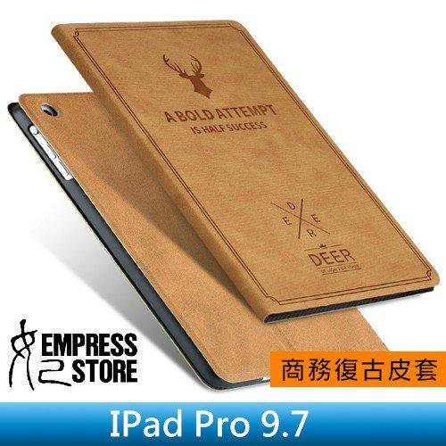 【妃小舖】iPad Pro 9.7 鹿頭 鄉村風 復古/帆布紋 超薄 二折/支架/止滑 休眠/喚醒 平板 皮套/保護套