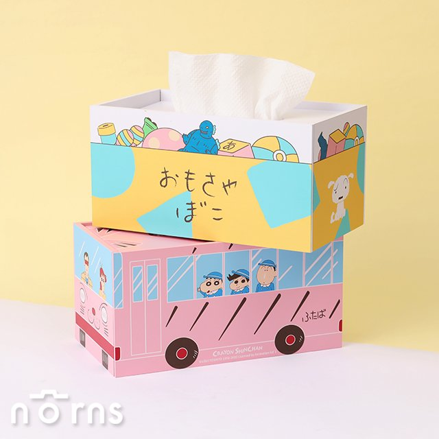 蠟筆小新木質面紙盒- Norns 正版授權 下降式沉蓋設計 幼稚園校車 娃娃車 玩具箱 玩具盒