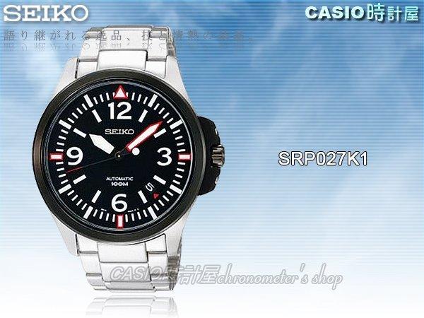 CASIO 時計屋 SEIKO 精工手錶專賣店 SRP027K1  滑動式秒針 率性運動 機械錶 保固 附發票