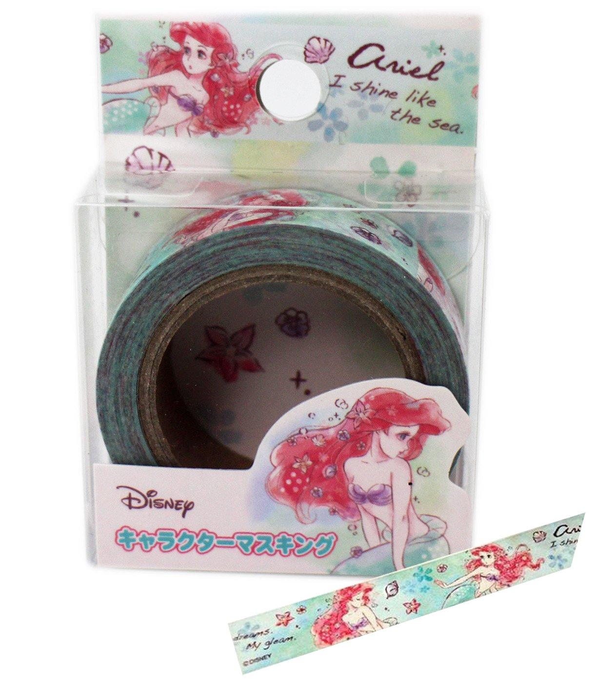 【卡漫迷】 小美人魚 紙膠帶 綠 ㊣版 mermaid 愛麗兒 Ariel 筆記本 貼紙 膠帶貼 包裝 貼 裝飾貼