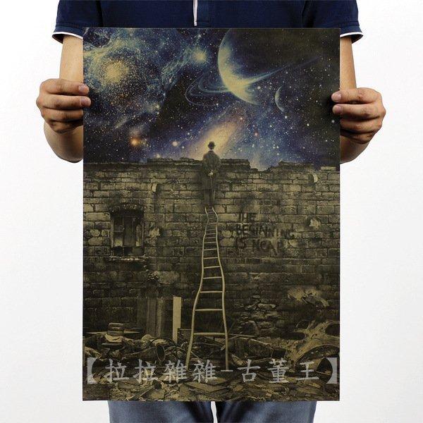 【貼貼屋】隱喻 天馬行空 星球 銀河 懷舊復古 牛皮紙海報 壁貼 店面裝飾 電影海報 354