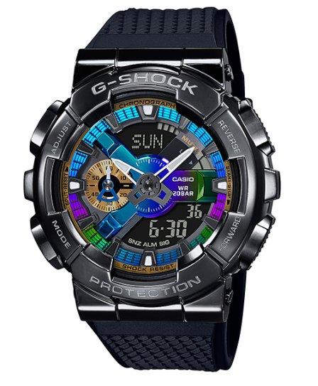 【萬錶行】CASIO G  SHOCK 重工業風金屬雙顯手錶  GM-110B-1A