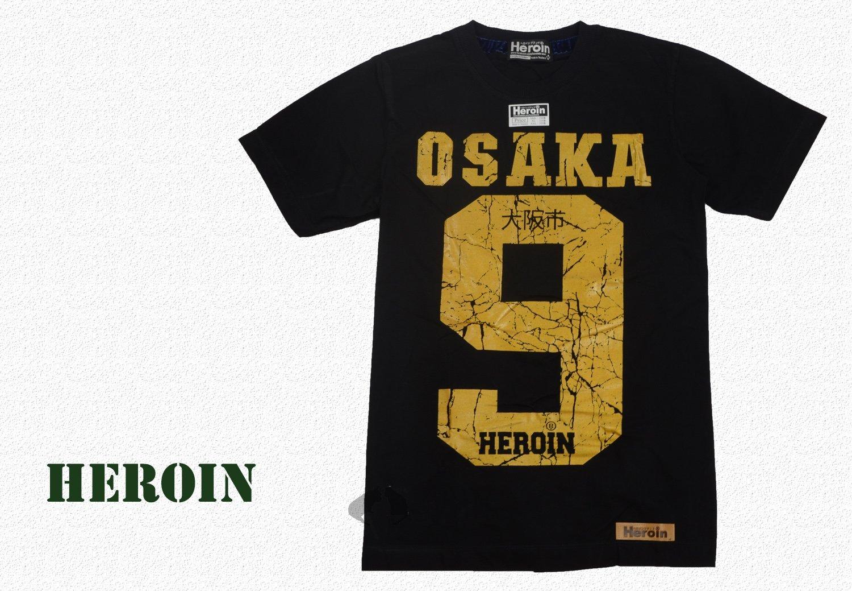 Heroin海洛因品牌 個性T大阪字樣 黑底金字 短純棉T ~阿法.伊恩納斯 泰國製 新創設計品牌 外銷歐美 街頭 穿搭