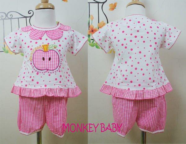 滿699免運【MONKEY BABY 】格子蘋果圖案花邊領點點幼童套裝(9148)