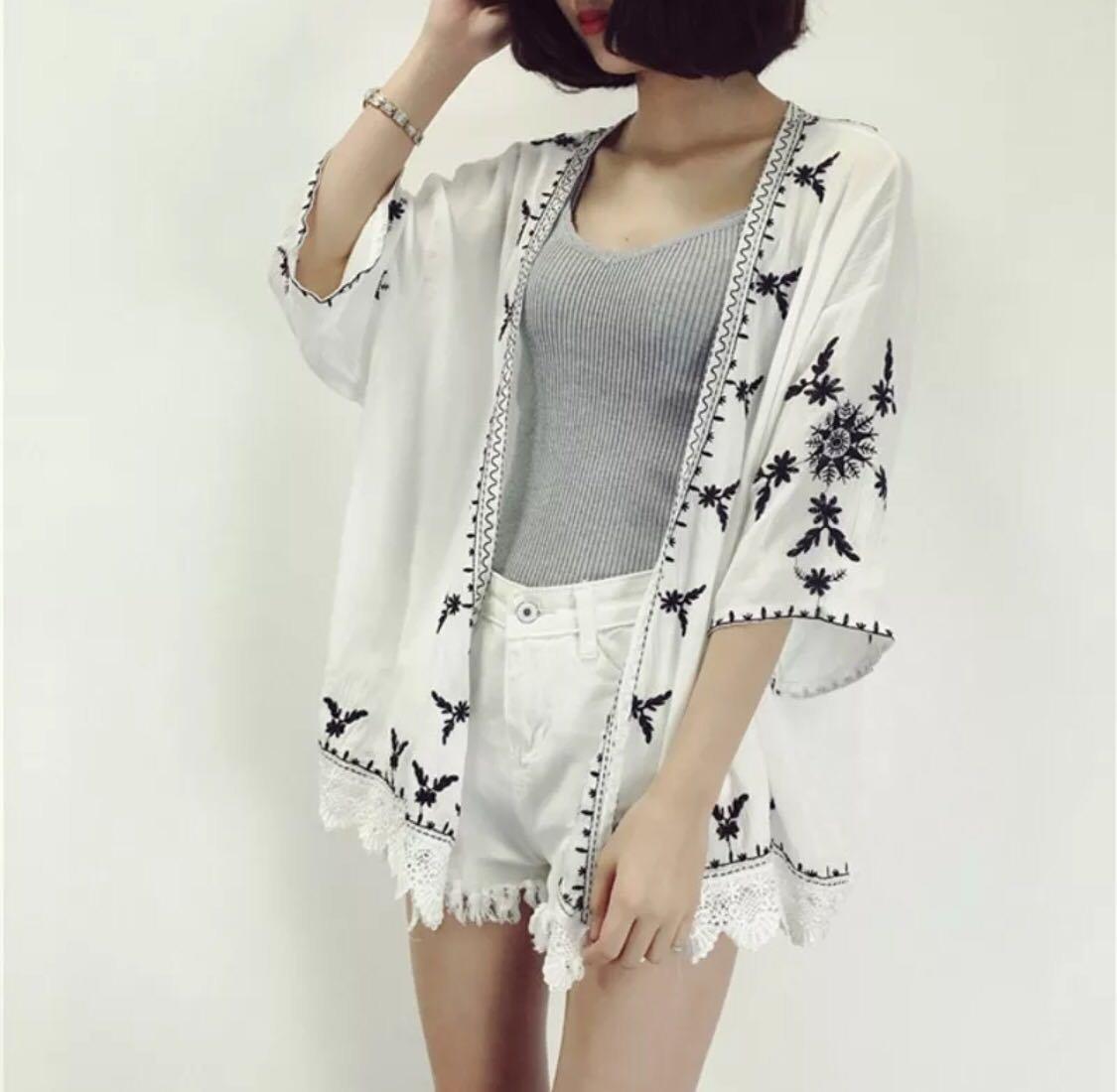 刺繡雪紡罩衫外套 全新 白
