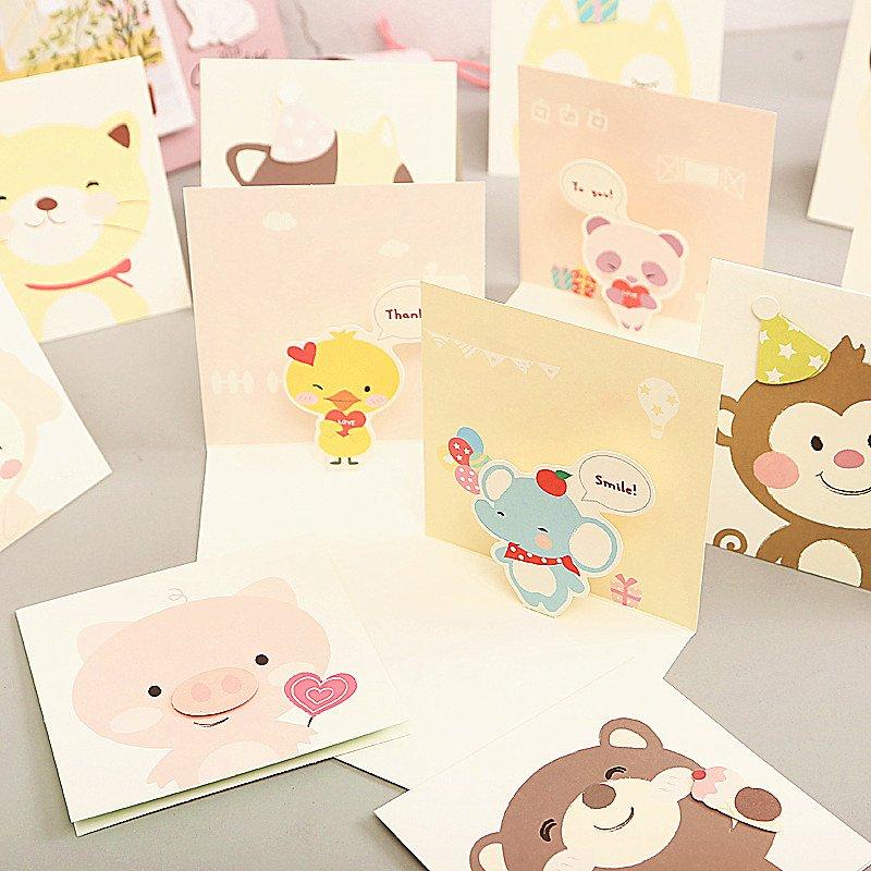 可愛迷你卡通賀卡兒童節日小卡片萬用祝福感謝卡圣誕節新品嘉義