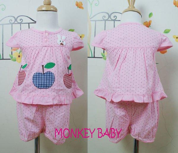 滿699免運【MONKEY BABY 】格子蘋果圖案點點粉色幼童套裝(1342)
