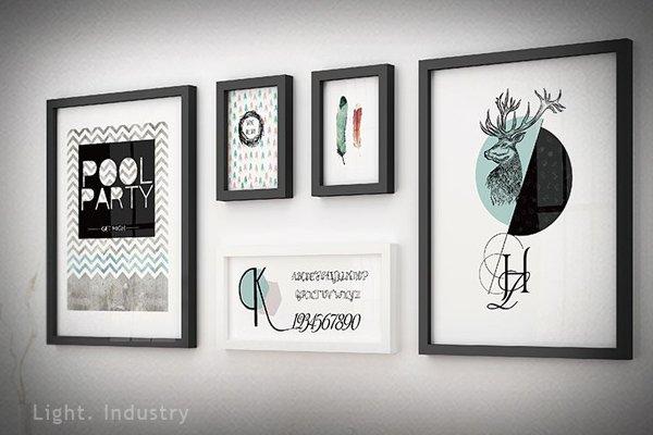 【 輕工業 】 感相片牆實木5框組-彩色普普-鹿頭英文黑色相框 照片 北歐風極簡客廳臥房掛畫裝潢餐廳酒吧服飾店