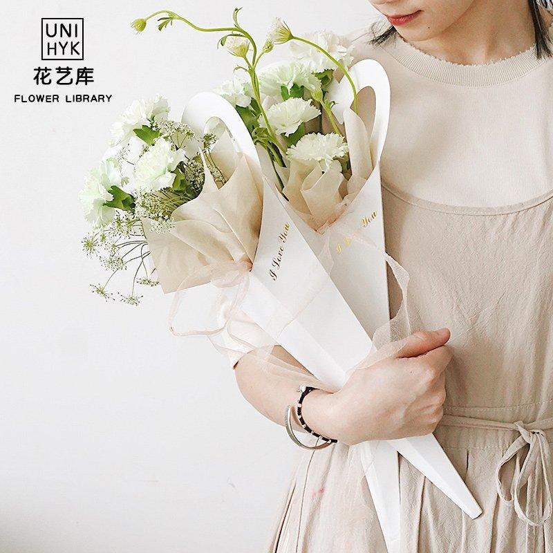 《ulklk601》熱賣#情人節單支花盒520玫瑰鮮花包裝袋透明愛心形康乃馨單支包裝