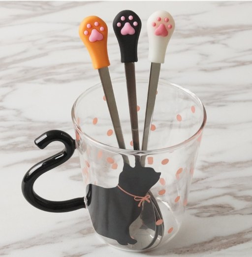 肉球攪拌勺 黑/ 白/桔 軟萌可愛貓爪肉球攪拌勺不銹鋼勺子咖啡勺貓足立體肉墊勺