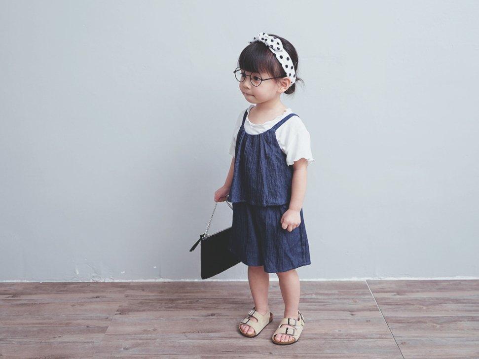 【Mr. Soar】 ** ** F354  韓國style 女童假兩件連身短褲吊帶短褲