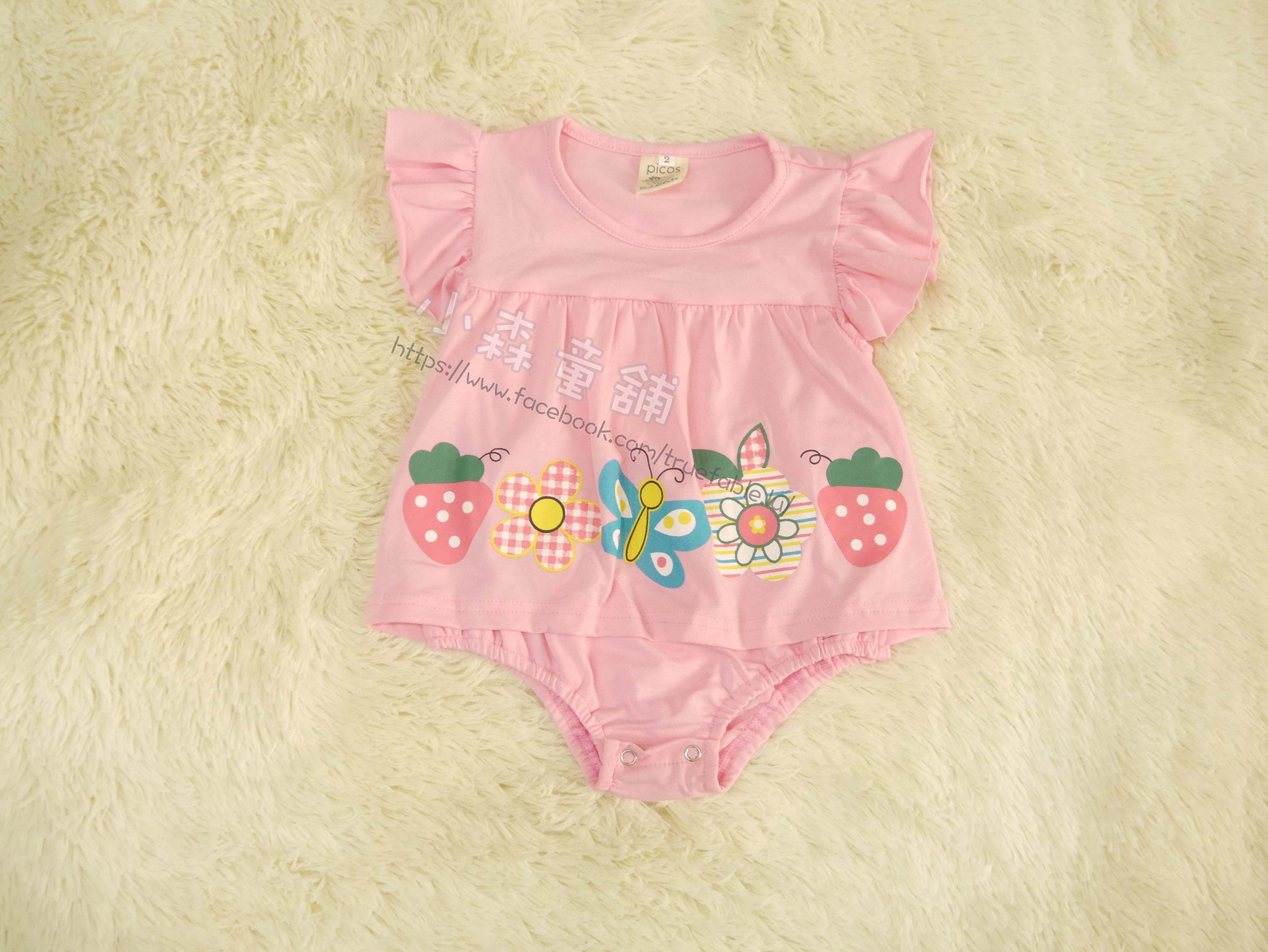 小森童舖 日系女童蝴蝶結花朵 小裙擺 荷葉袖 粉紅色系 棉質短袖包屁衣 連身衣 2號 零碼