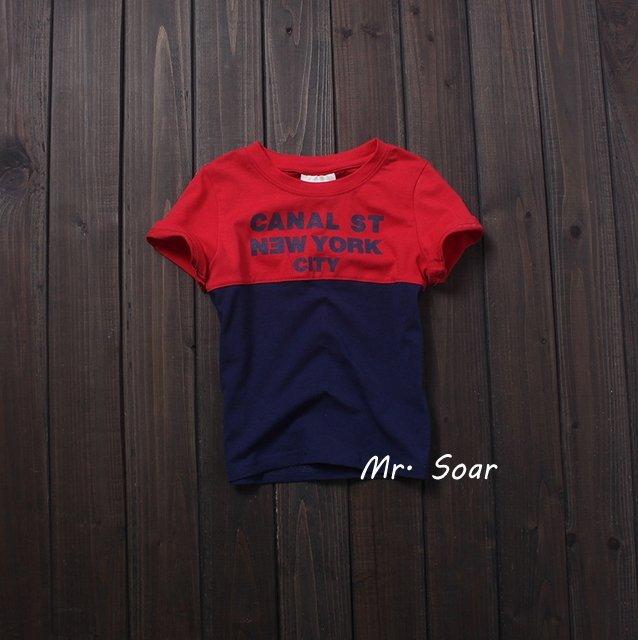 【Mr. Soar】** ** 韓國style 男童藍紅撞色短袖T恤上衣  A452