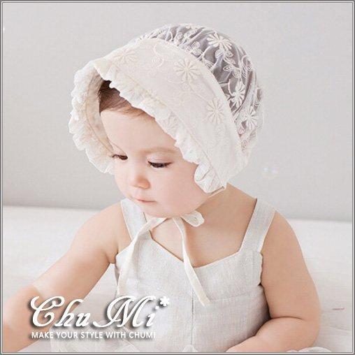 帽子 女童 公主 花朵 布蕾絲 寶寶 嬰兒 空調帽