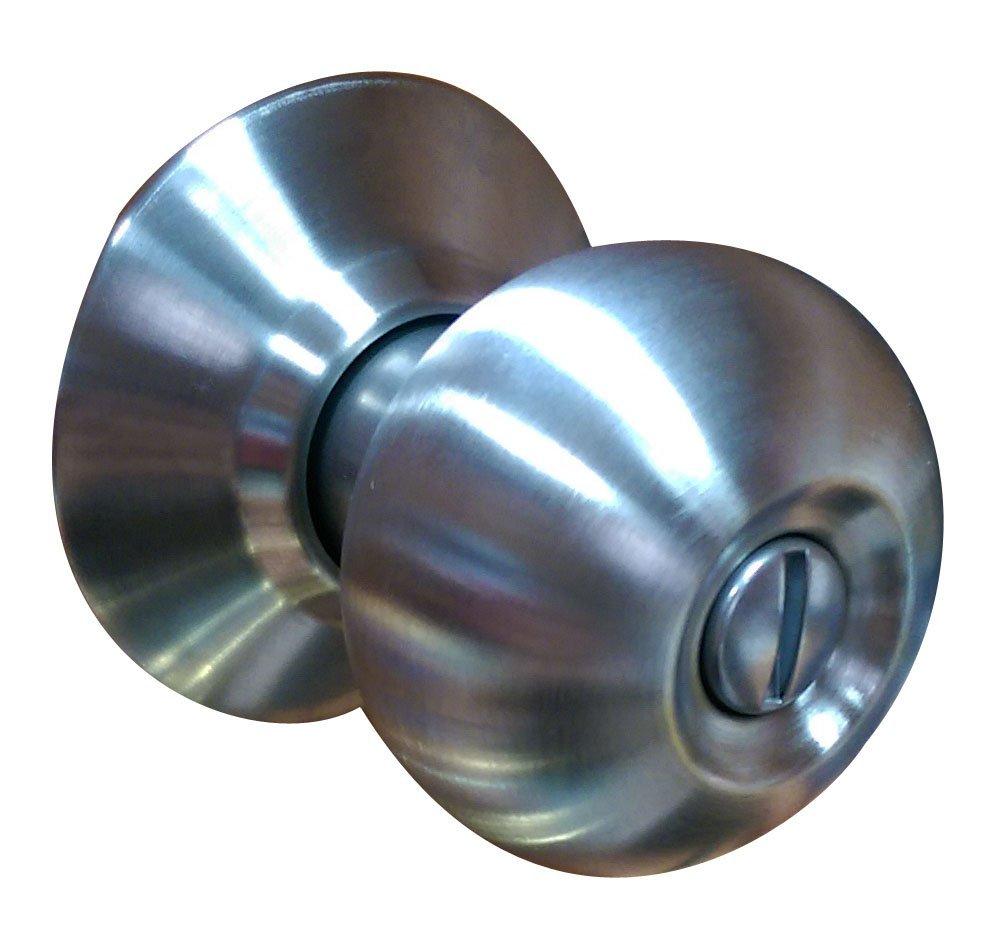 廣安喇叭鎖 C9610 喇叭鎖 無鎖匙 裝置距離85mm 浴廁鎖 浴室鎖 廁所用 不銹鋼磨砂白鐵色
