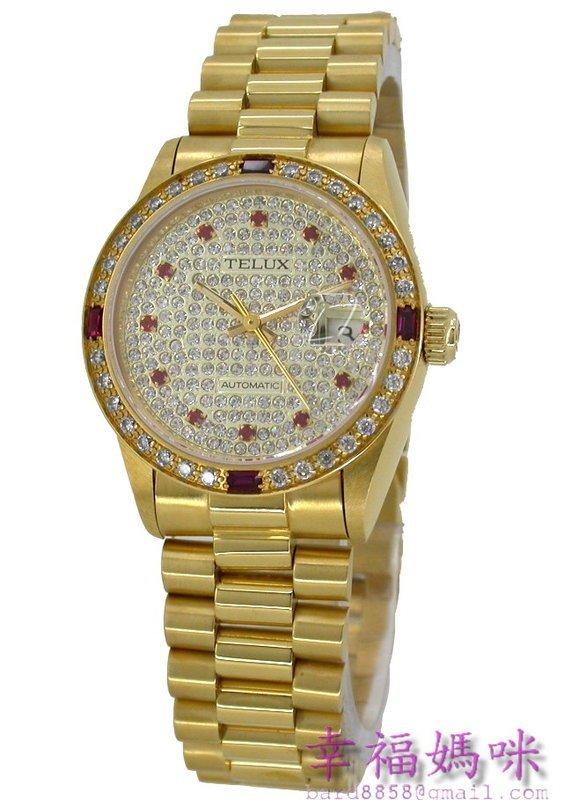 【 幸福媽咪 】TELUX 鐵力士 蠔式頂級水晶鑽 瑞士ETA機芯,自動手動上鍊機械錶-金SW9530GR