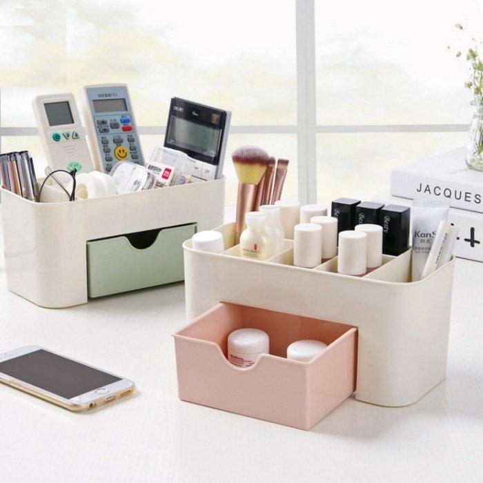 抽屜式桌面收納盒 化妝品收納盒 化妝包 居家辦公室 抽屜隔層分類-綠色