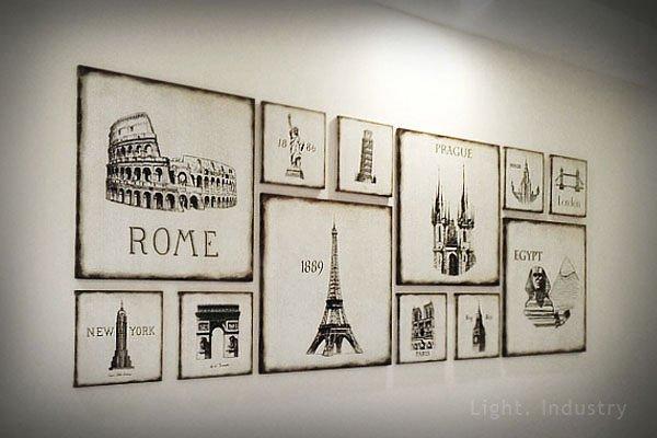【 輕工業 】 名建築無框畫相片牆-復古版畫裝飾壁掛畫照片牆相框餐廳服飾店咖啡廳客廳臥室北歐風歐洲美式工業風 款