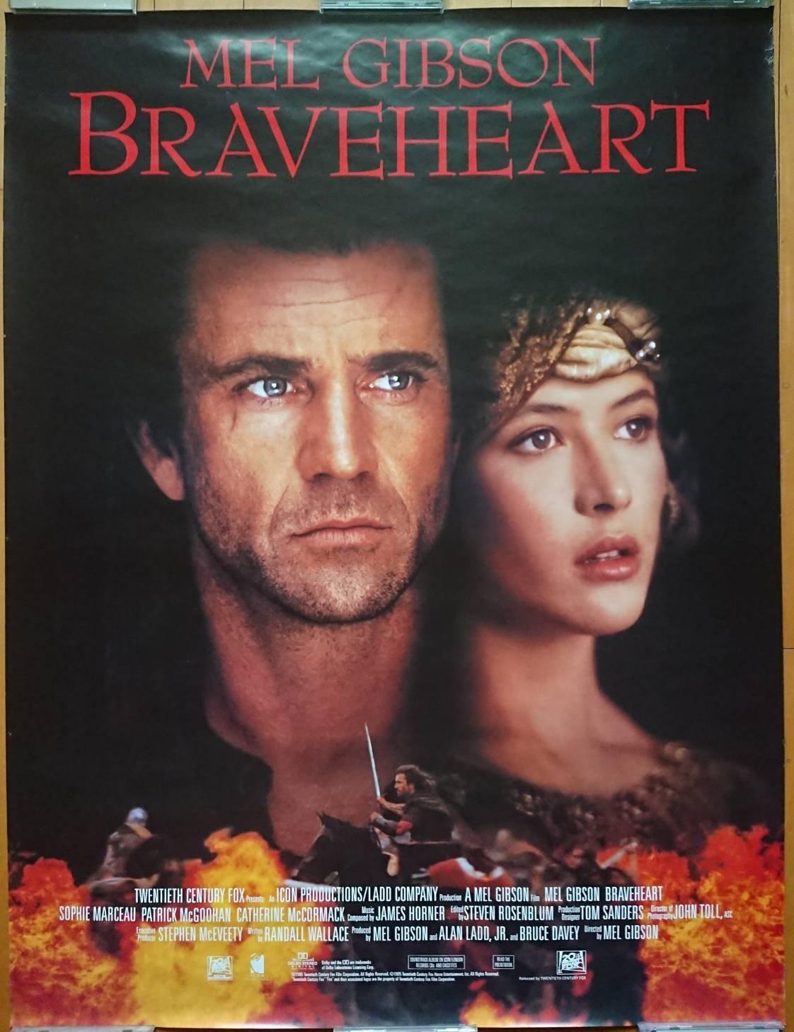 英雄本色 (Braveheart) - 梅爾吉勃遜 蘇菲瑪索 - 美國video發行電影海報 (1995年)