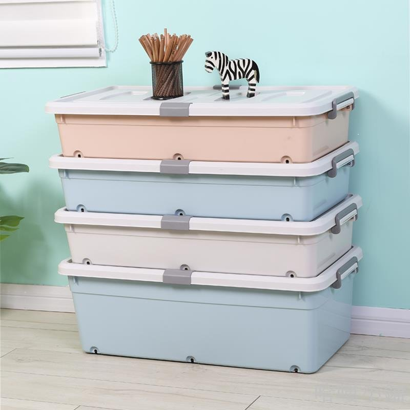 哈嘍小鋪 特大號床底收納箱 塑料整理箱滑輪衣服衣物儲物箱扁平被子收納箱