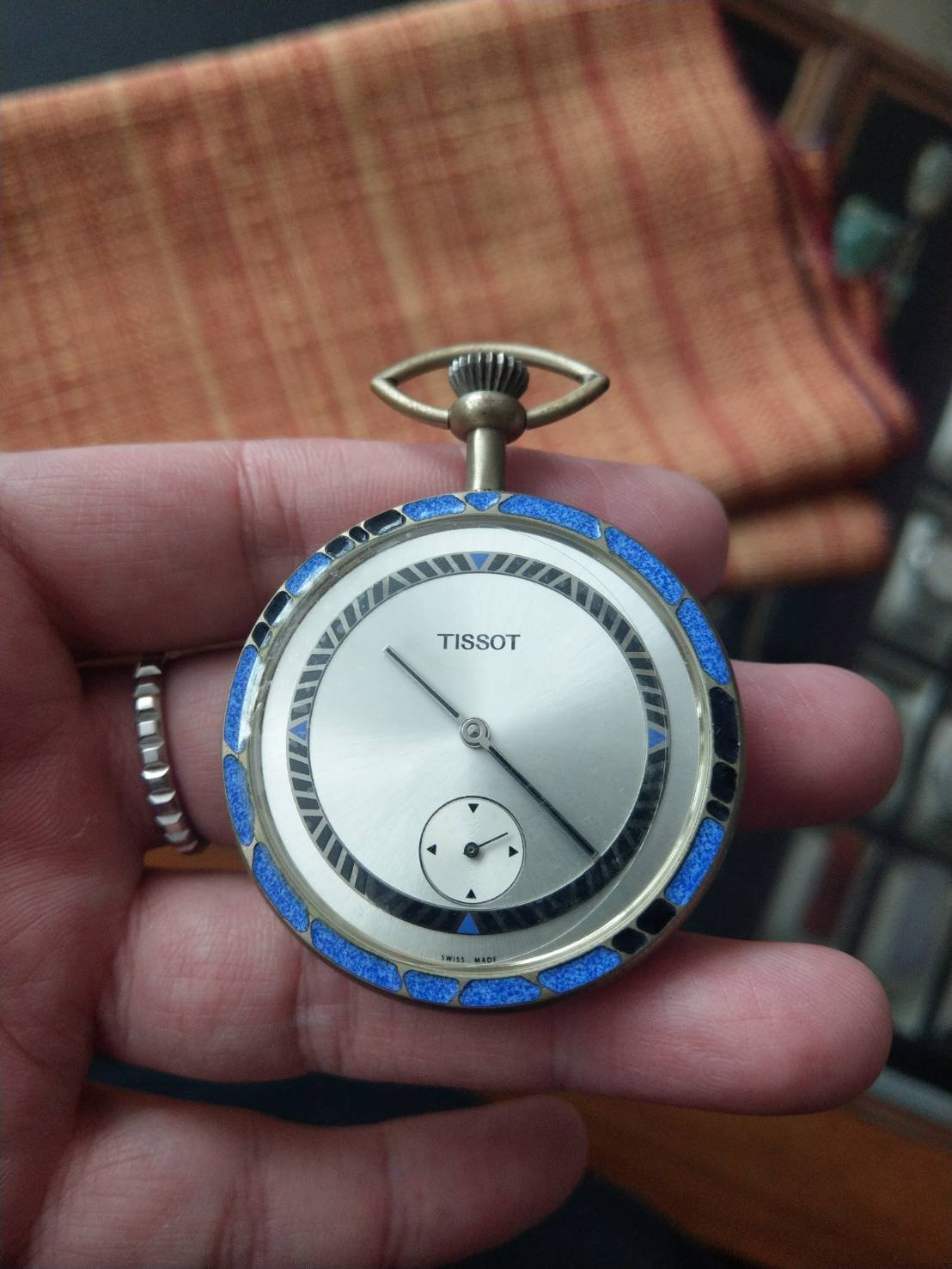 【低調的奢華】天梭 TISSOT 手上鍊懷錶 純銀彩繪錶殼 獨立小秒盤 全球限量 絕版珍藏品
