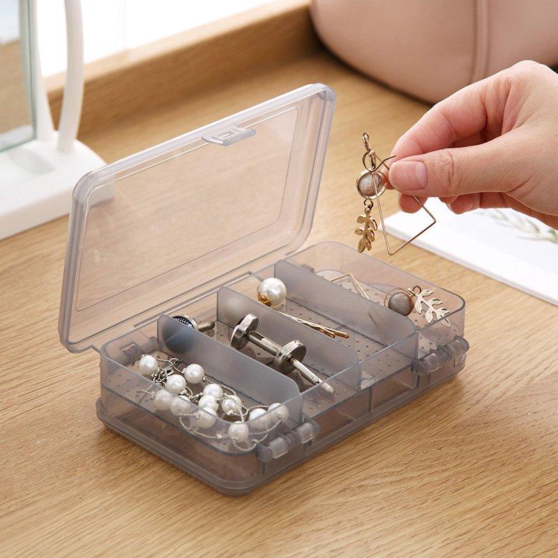 居家居家家帶蓋雙層首飾盒塑料透明耳環儲物盒飾品小盒子收納盒飾品盒