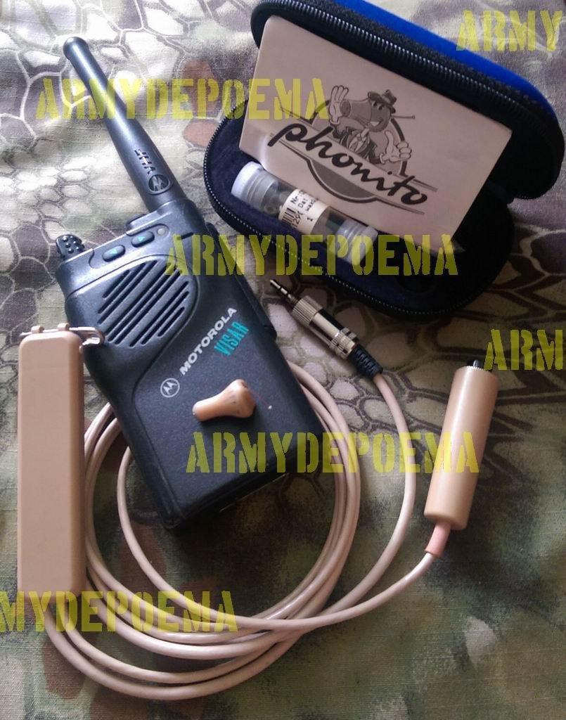 專業隱藏式無線耳機 + MOTOROLA VISAR VHF 無線電 (偵查、特勤人員、祕密跟蹤、隨扈)