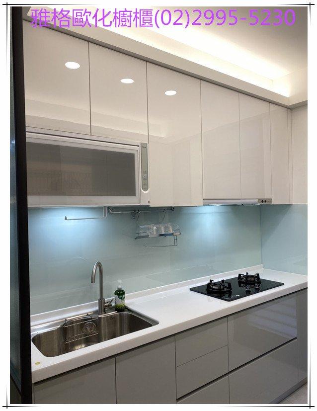 【雅格廚櫃】工廠直營 -雙一字型、後排櫃、 廚櫃、廚具、櫻花三機、樂天人造石、結晶鋼烤門板、烤漆玻璃