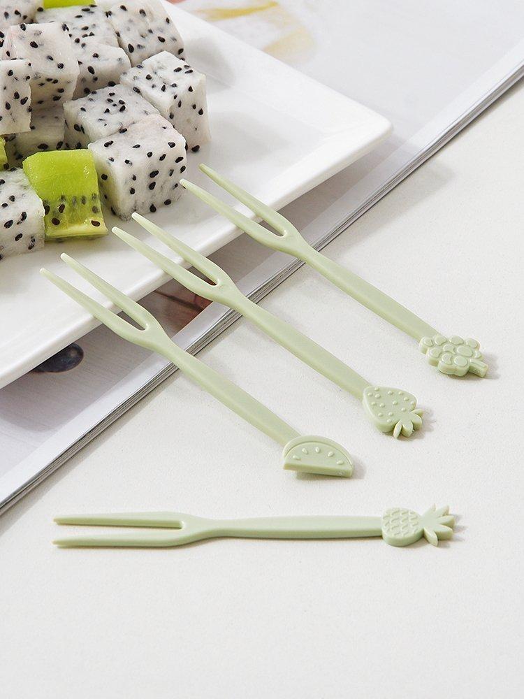 廚房寶優思居 雙尖頭塑料水果叉 家用客廳水果插兒童吃水果的小叉子