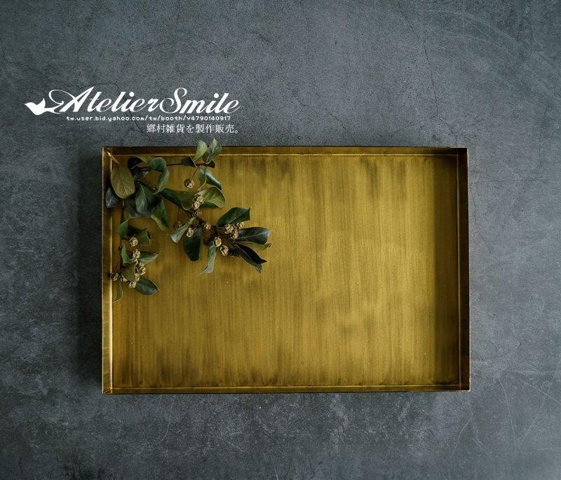[ Atelier Smile ] 鄉村雜貨 北歐風 長形桌邊收納托盤 復古幾何金屬果盤 # 小長方盤 (現 預)