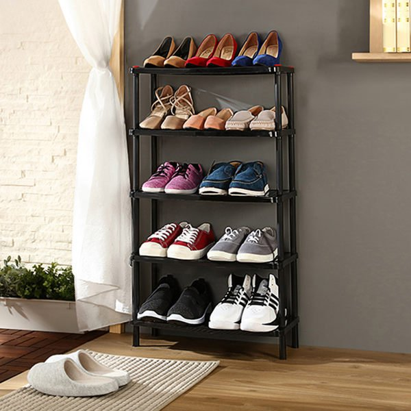 PP多用途五層架簡易五層塑膠鞋架大學宿舍寢室鞋櫃架子置物架層架