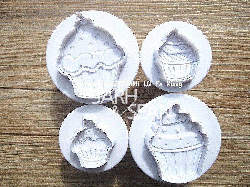 麋路花巷☆冰淇淋馬芬蛋糕立體彈簧翻糖餅乾模具 單色 4件套翻糖蛋糕模具巧克力模母乳皂模